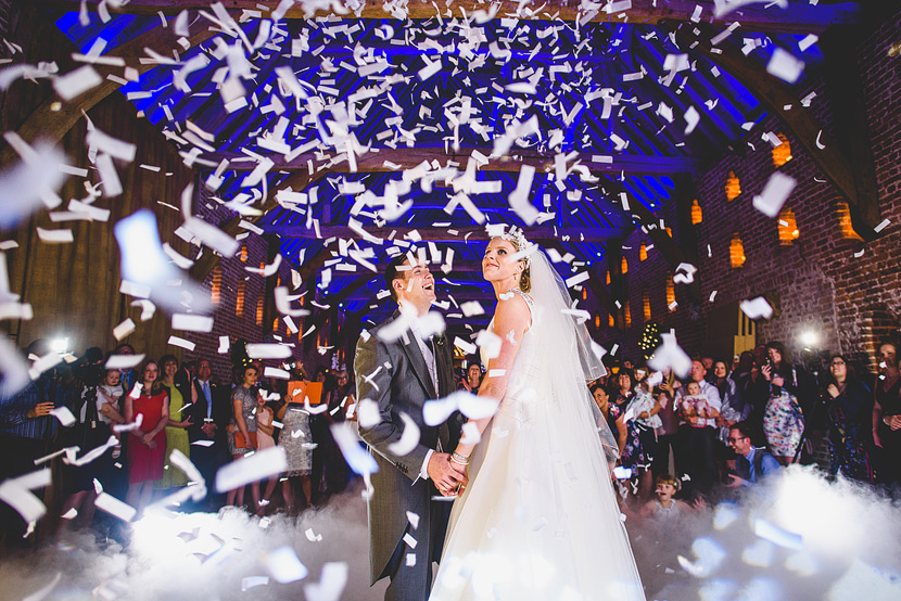 hales hall great barn first dance confetti cannon