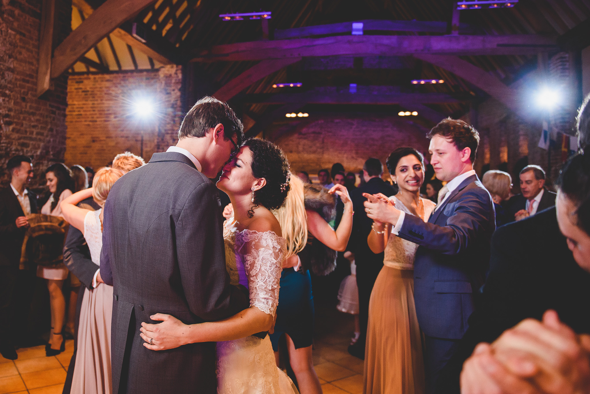 william and sarah having a quiet moment at elms barn moments after their first dance