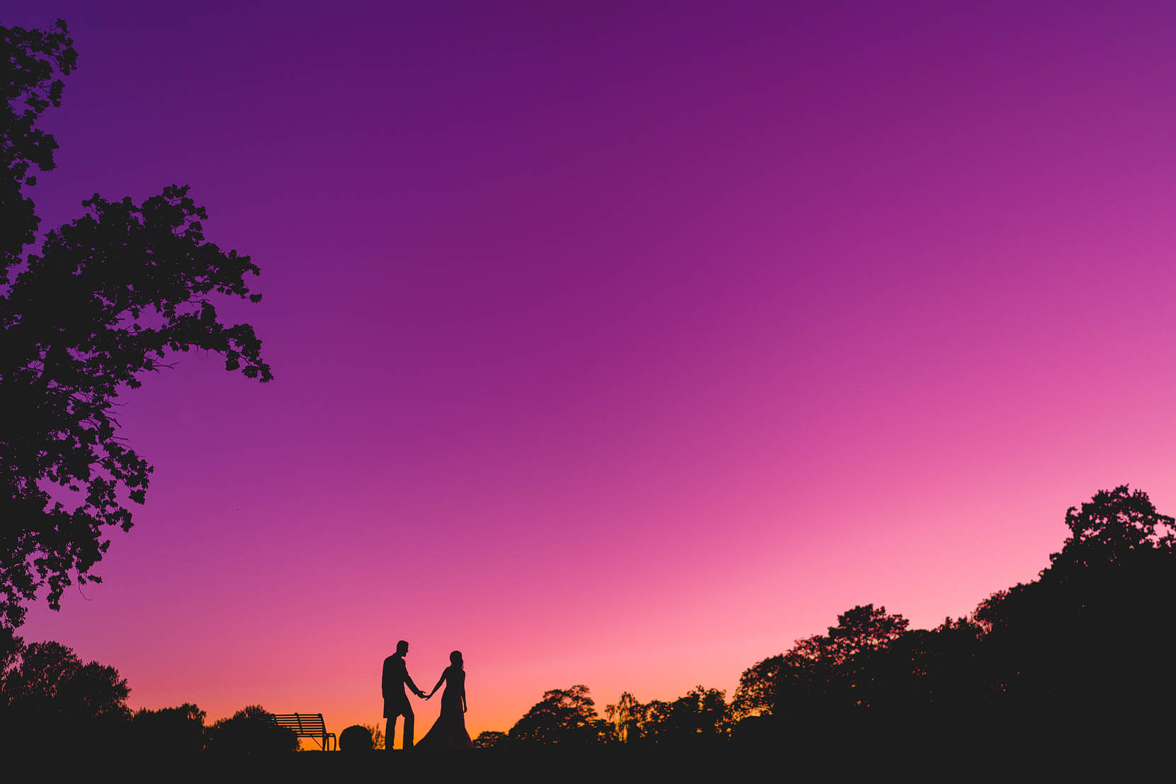 oxnead hall summer wedding of laura and steve with a gorgeous colourful sunset