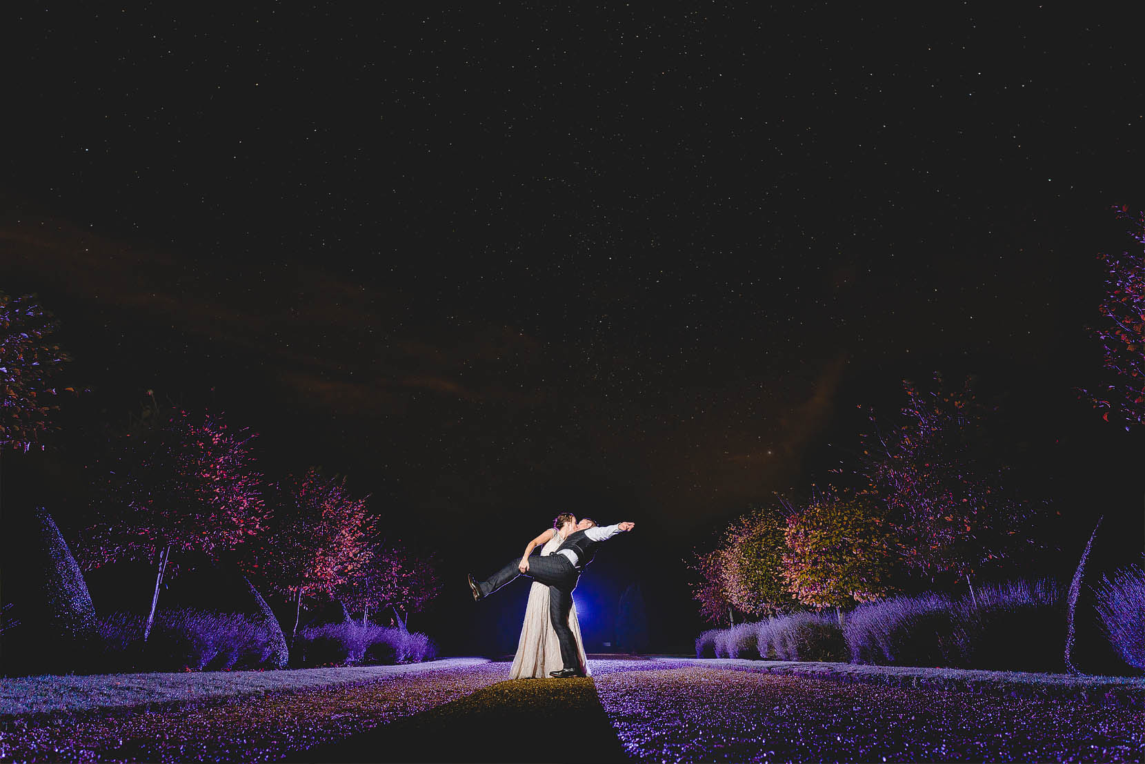 rudi and naomi have a star filled snog at their wedding, hales hall norfolk